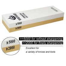 2000/5000 Grit Dual-sided Knife Sharpening Stone with Waterstone Holder