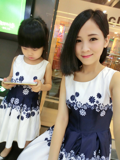 New 2016 1pc Mother Daughter Dress Clothes Family Fashion Mom Baby