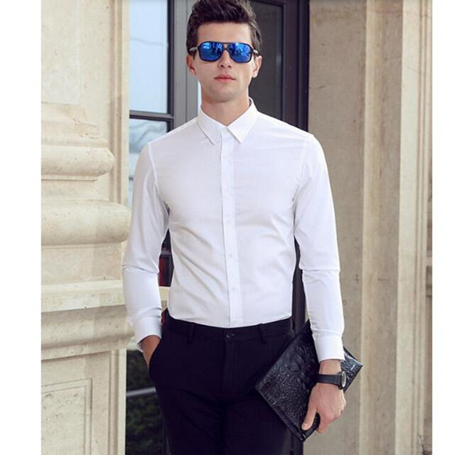 4a791a0f836 Custom made men shirt good quality handsome groom shirt white Comfortable  and soft men formal shirt long sleeve