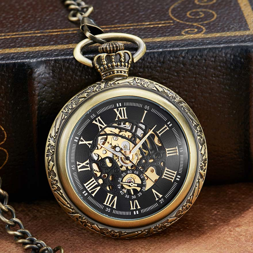 Bronze Mechanical Pocket Watch With Chain Hand Winding Fob Watch Without Battery Clock Men Sliver Roman Numbers Engraved Watch