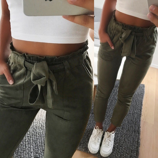2018 New style Fashion Women suede pants style ladies Leather bottoms female trouser Casual pencil pants high waist trousers