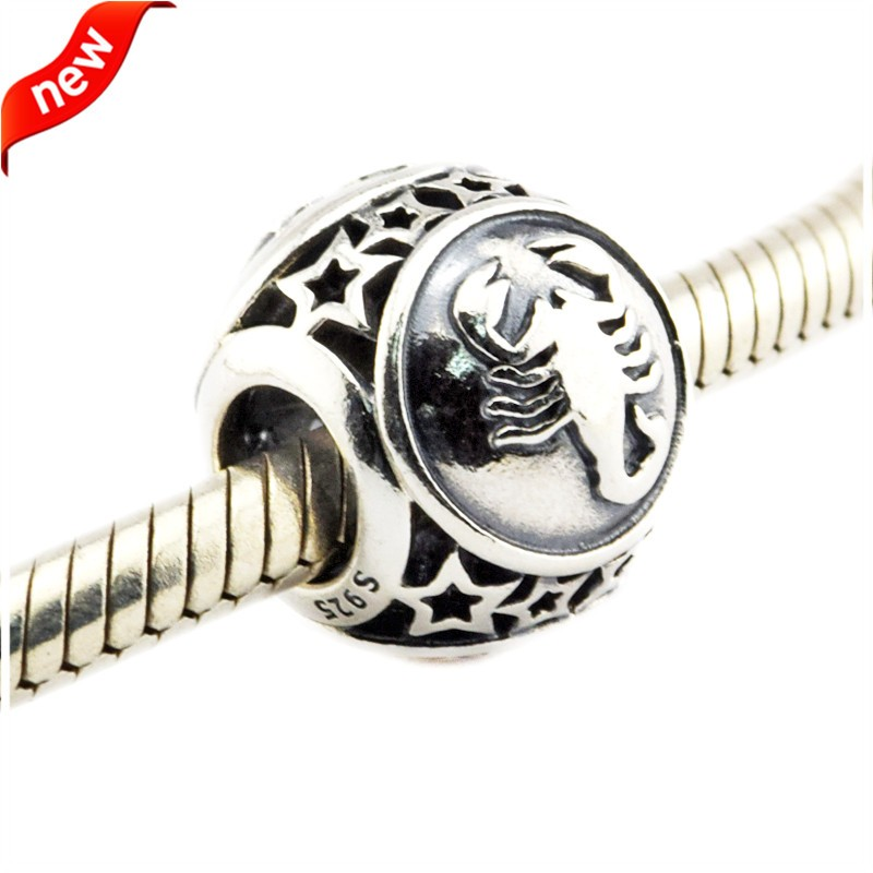 925 Silver Jewelry Beads DIY Fits Pandora Bracelets Charms Scorpio Star Sign Silver Charm Beads for Jewelry Making Women Gift