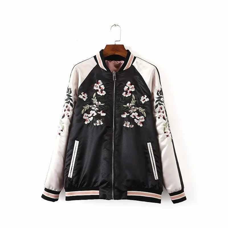 Chaqueta bordada Floral para mujer Otoño Invierno 2018 chaqueta piloto Harajuku en ambos lados chaquetas de béisbol casuales abrigos Sukajan