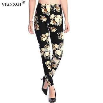 цена на New Rose Flower Printed Leggings Fashion Sexy Women Lady Slim High Elastic Cotton Pants Multiple Colors Styles Trousers In Stock