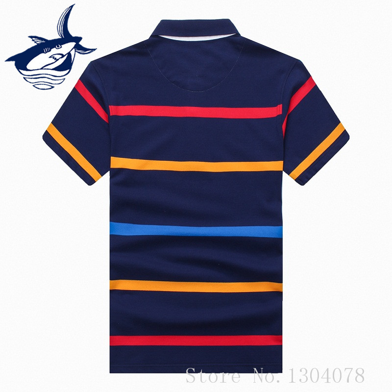 Men   polo   shirt short sleeve tace & shark brand men   polos   striped cotton slim fit shark   polo   shirts for men casual mens shark