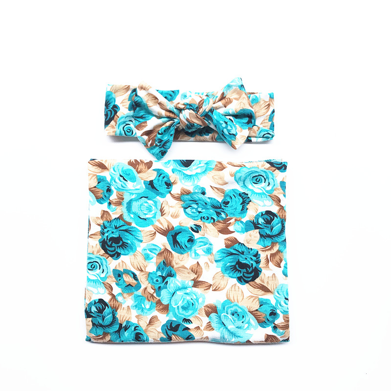 Floral Swaddle with Headband -Marlen
