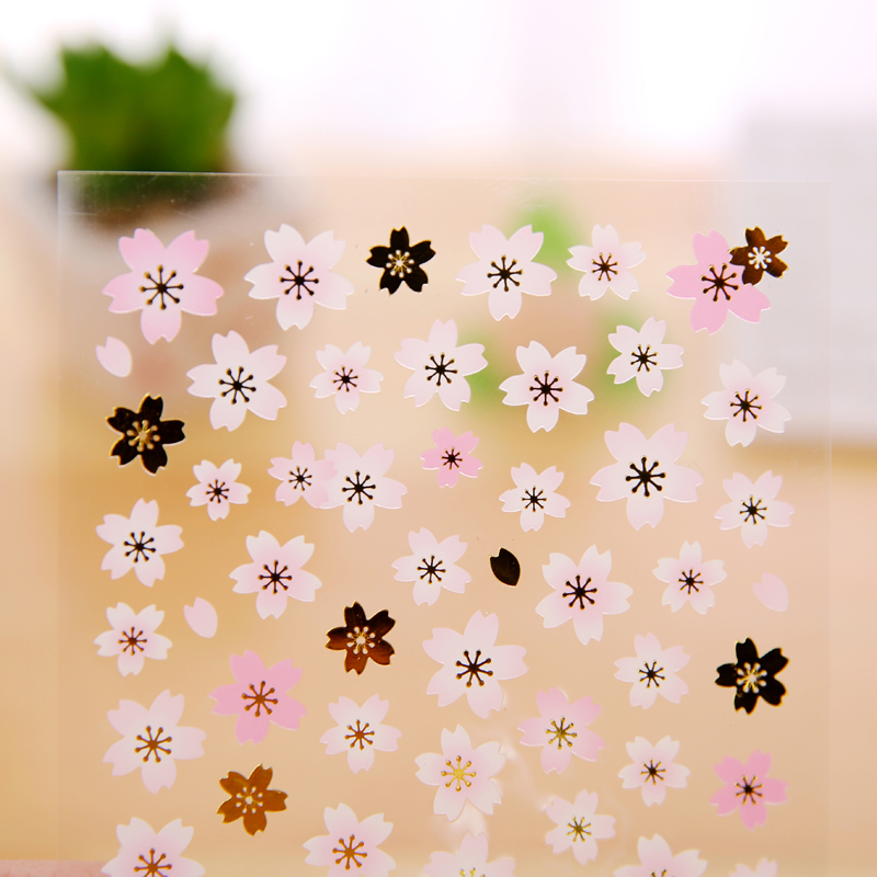 16 Options Falling Cherry Blossoms Colorful Cherry Petals Sakura Stickers Manual Diy Accessories Material Scrapbook Laptop Decal