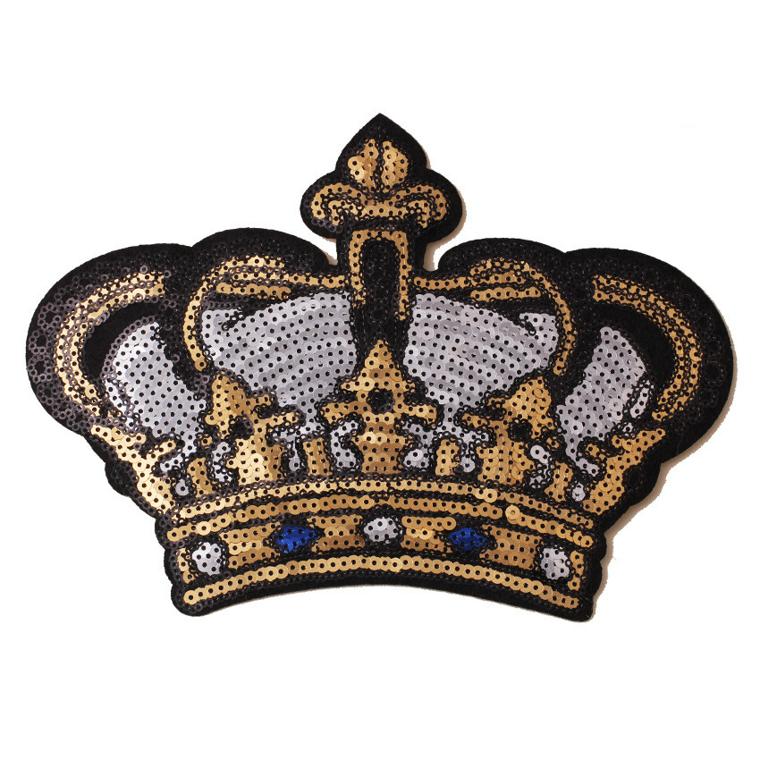 Sequins Crown Embroidery Applique Iron on Patches for Clothing Large Patch Bead Brooch Stickers on Clothes for Jeans Shoes Bags la palmyre zoo
