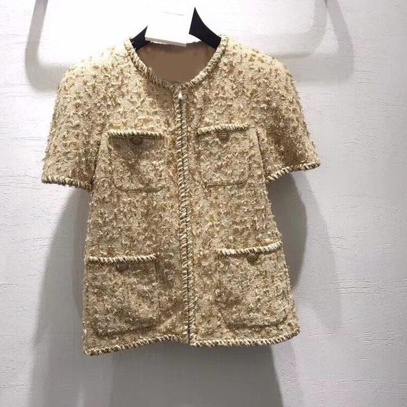 Женская куртка, Весенняя элегантная ретро куртка, твидовая куртка золотистого цвета с короткими рукавами на молнии, шелковая подкладка, нов