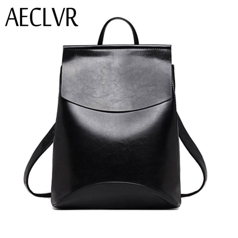 AECLVR Fashion Women Backpacks Quality Pu Leather School Backpacks for Teenage Girls Preppy Style Shoulder Bag Daypack for Women