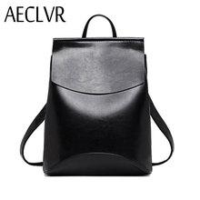 AECLVR Fashion Women Backpacks Quality Pu Leather School Backpacks for Teenage Girls Preppy Style Shoulder Bag