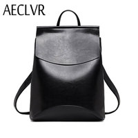 AECLVR Fashion Women Backpacks Quality Pu Leather School Backpacks For Teenage Girls Preppy Style Shoulder Bag