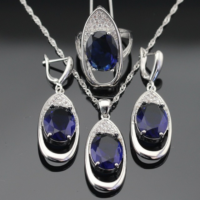Blue Green Black 3 Colors Huge Stones Silver Color Jewelry Sets For Women Necklace Pendant Drop Earrings Rings Free Gift Box