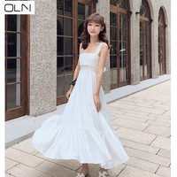 New Thailand seaside holiday summer super fairy long dress gentle lazy wind word collar sexy back strap dress for women