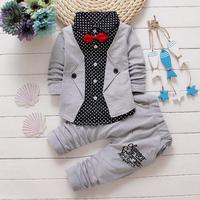 2016 Baby Boys Autumn Casual Clothing Set Baby Kids Button Letter Bow Clothing Sets Babe Jacket