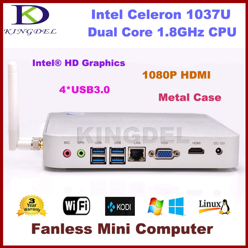 2GB RAM  MSATA3.0 SSD Fanless Mini PC Thin Client Intel Celeron 1037U Dual Core 1.8Ghz 1080P Video USB 3.0 HDMI VGA 3D Game