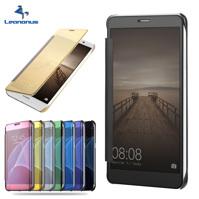 new concept 9ddaf a59d7 US $8.74 |Leanonus Clear View Smart Case For Huawei P8 lite P9 lite Honor 7  lite 5C Mate 7 8 Mate9 Enjoy 5 Flip Leather Hard Cover-in Flip Cases from  ...