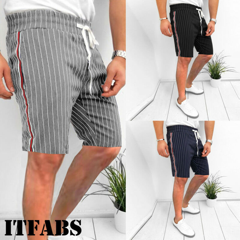 Handsome Men's Striped Short Pants Summer Casual Athletic Gym Sports Training Shorts Comfortable Clothes Outfit