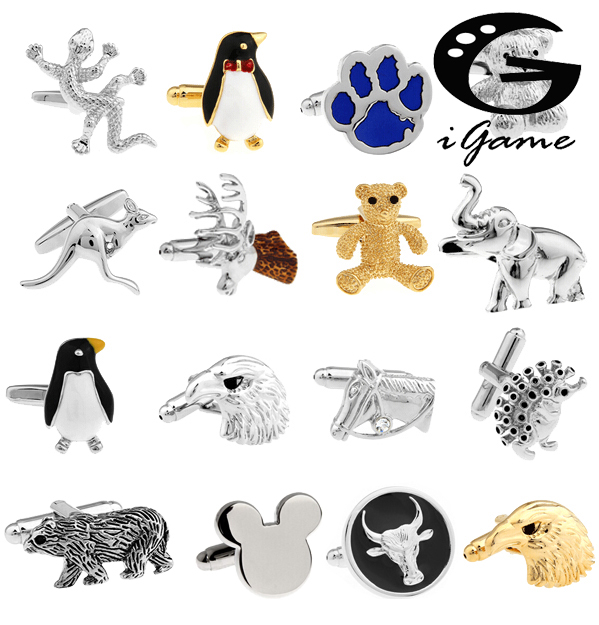 Transport gratuit cu maneci Link-uri de design de cai serie de animale urs elefant pinguin cangur eagle barbati cufflinks whoelsale & retail