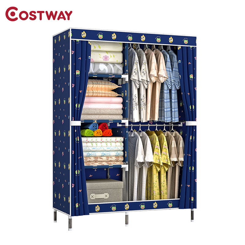 COSTWAY Bedroom Oxford Cloth Wardrobes Cloth Storage Saving Space Locker Closet Sundries Dustproof Storage Cabinet W0149