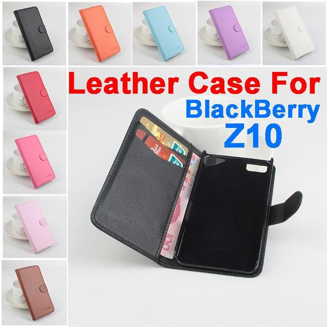 Litchi For BlackBerry Z10 case cover, Good Quality New Leather Case + hard Back cover For BlackBerry Z10 Cellphone Case In Stock