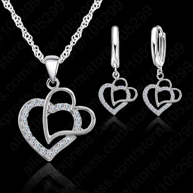 New Arrival  Double Heart 925 Sterling Silver  Jewelry Sets Austrian Crystal Set Women Pendant Jewelry Set For Women Wedding