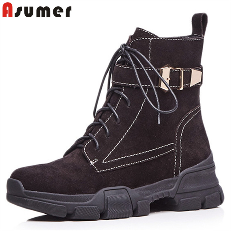 ASUMER black fashion autumn winter boots women round toe lace up zip ankle noots classic street style suede leather boots asumer black fashion 2018 autumn winter boots women round toe zip mixed colors ankle boots flat with suede leather boots