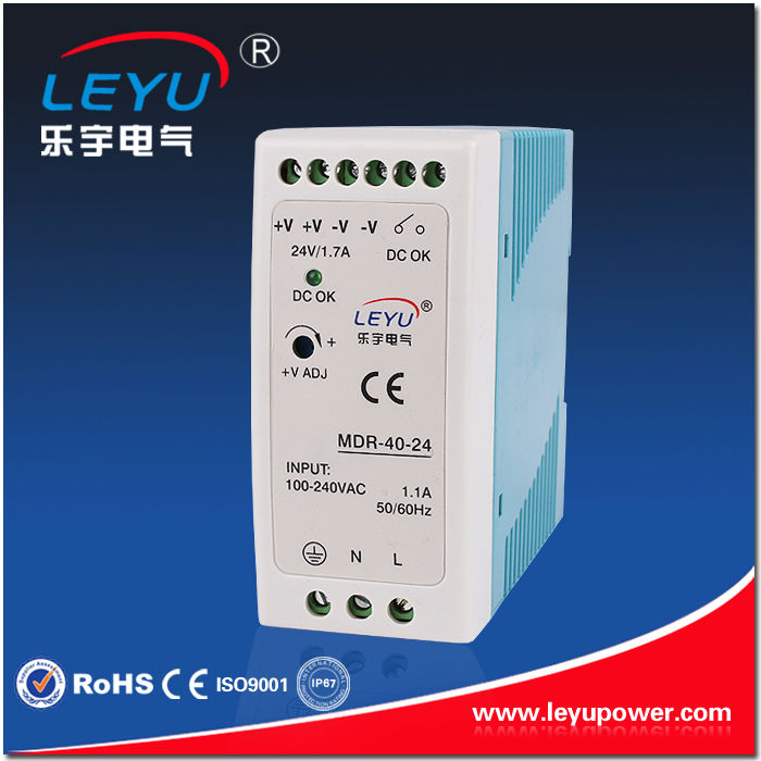 LEYU brand CE fast delivery 40w 24v dc power supply din rail with low price high efficiency made in China accelerating road infrastructural delivery in ghana