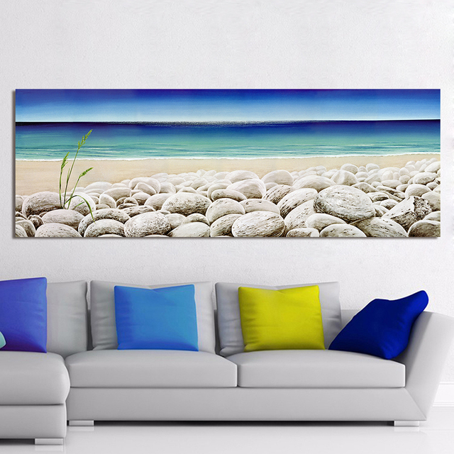 HDARTISAN Wall Canvas Art Pictures For Living Room Home Decor Landscape The  Cobblestone Seashore Painting Frameless
