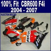 Настроить комплекты впрыска тела для Honda 2004 2005 CBR 600 f4i 2006 2007 CBR600 F4i 04 05 06 07 красный черный пользовательские обтекатель