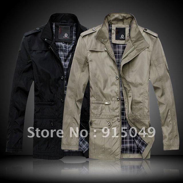 Hot New Mens Winter Jacket Coat Cotton Padded Black or Khaki Size M~XXL