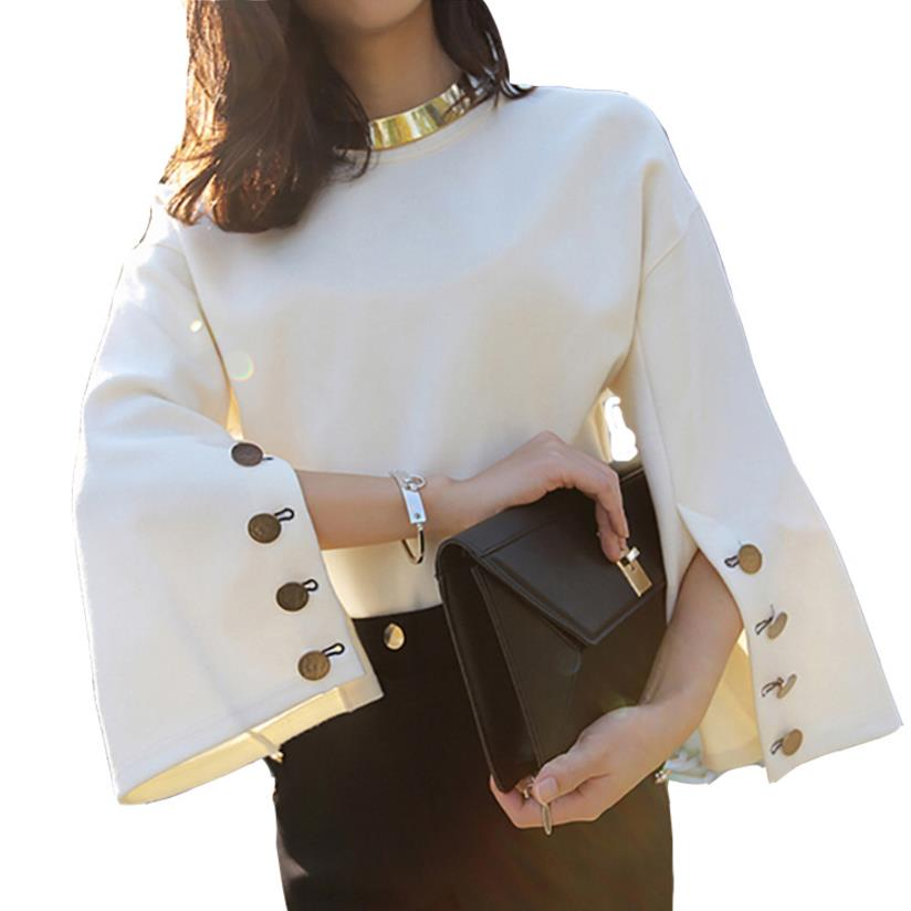 Blouses     Shirts   Tops New 2018 Split sleeve Loose Suede   Blouse   Ladies White   blouse