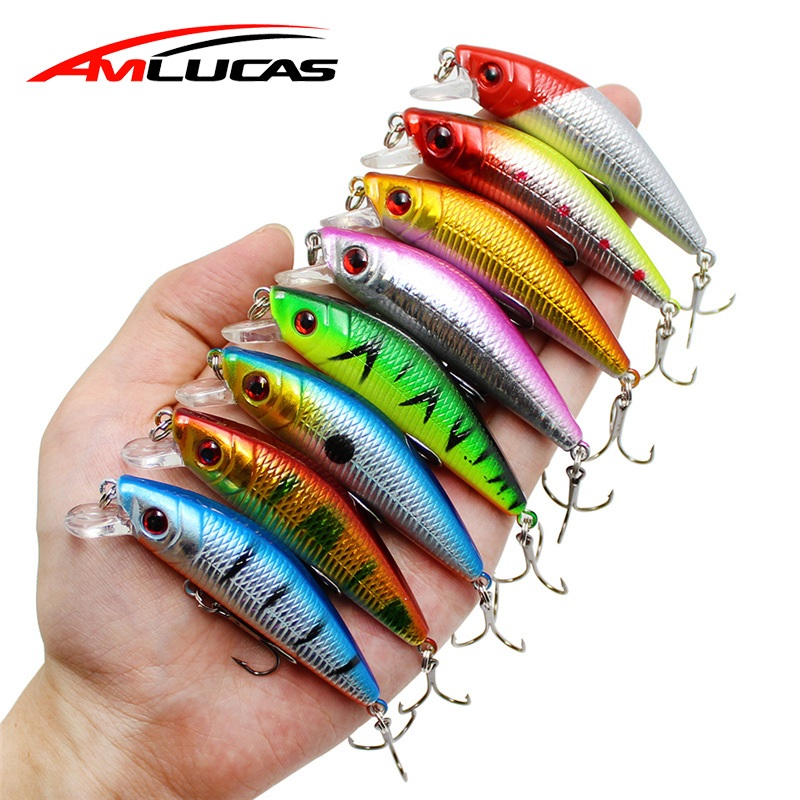 Amlucas Minnow Fishing Lure 7cm 8.1g Crankbait Wobblers Floating 6# Treble Hook Artificial Pesca Hard Bait Swimbait WW302 amlucas minnow fishing lure sinking hard bait 100mm 11 7g high quality wobblers crankbait with 6 hooks pesca we234