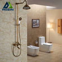 Bathroom 8″ Rainfall Shower Head Shower Complete Faucet Antique Brass Bath and Shower Faucet Set with Handheld Shower