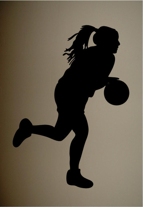 Wall Sticker Decal Quote Vinyl Girls Basketball Silhouette