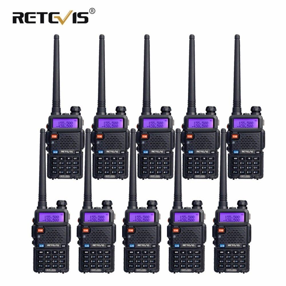 10 pcs Retevis RT5R Talkie Walkie 5 w 128CH VHF UHF Double Bande VOX FM Radio Portable Ham Radio Amador hf Émetteur-Récepteur Communicateur