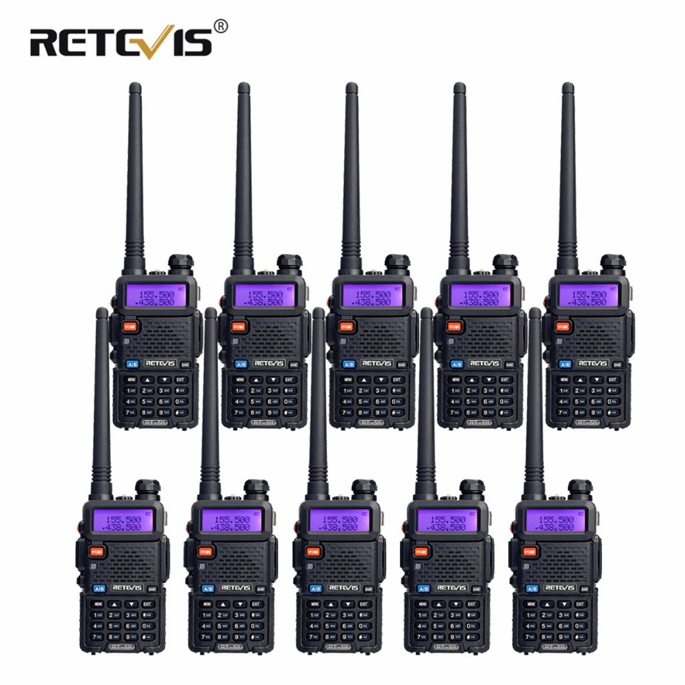 10 pz Retevis RT5R Walkie Talkie 5 w 128CH VHF UHF Dual Band VOX Radio FM Ham Radio Portatile Amador hf Tranceiver Communicator