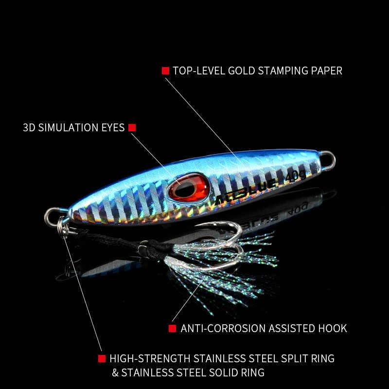 Allblue lucky jack lento metal jig 28g 40g isca artificial fora da costa isca de pesca fundição jigging colher chumbo peixe pesca equipamento