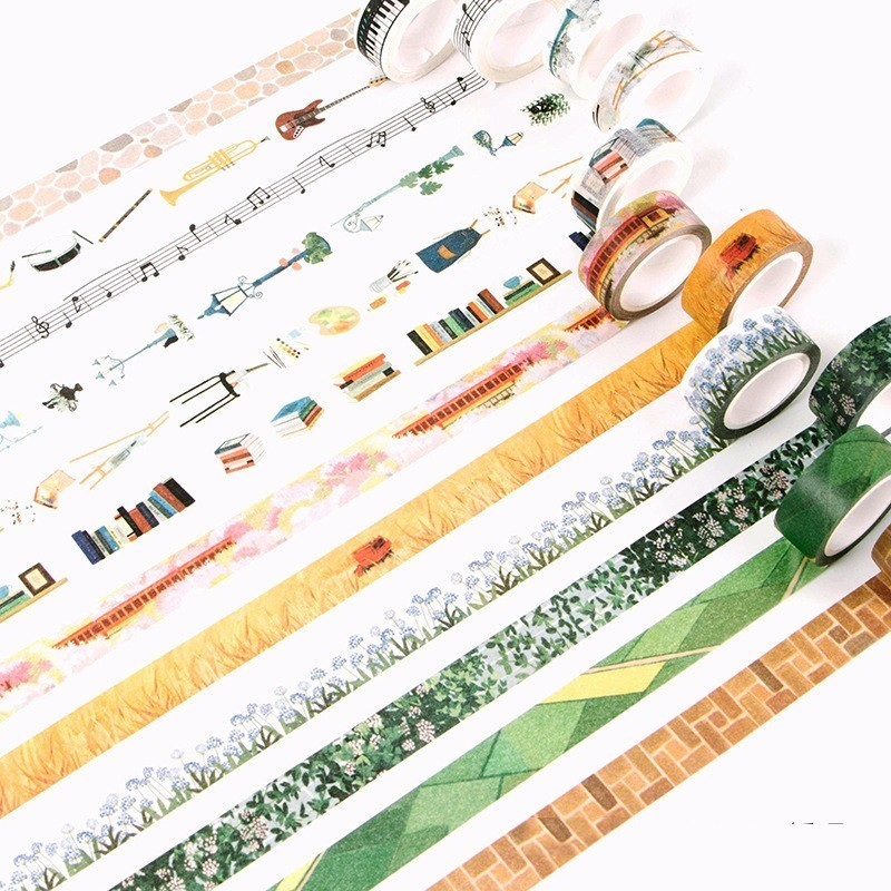 1 PCS Size 15mm*7m Washi Tapes DIY Musical Instrument Wall Paper Masking Tape Decorative Adhesive Tapes Scrapbooking Stickers 1pc black and white grid washi tape japanese paper diy planner masking tape adhesive tapes stickers decorative stationery tapes