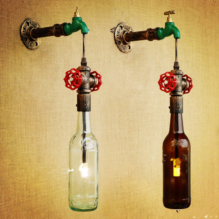 ФОТО  Rustic Retro Loft Vintage Wall Lamp Lights Pipe Glass Bottle Faucet Shape Industrial Wall Sconces Arandela Lamparas De Pared