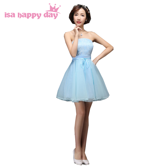 2fa1ad0ea4 blue formal sweet 16 cute short modest pretty strapless tulle fitted homecoming  party corset dresses with lace for teens H3507