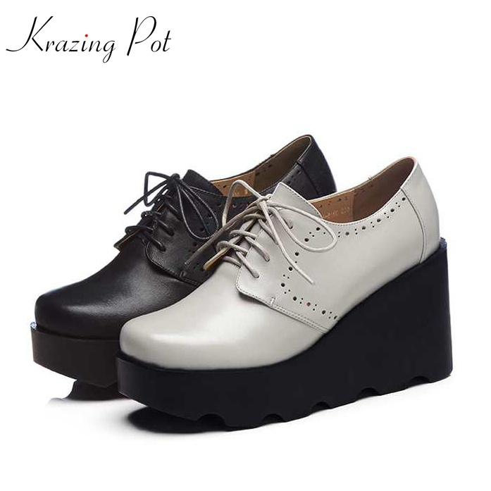 Krazing Pot European summer cow leather shoes women round toe women wedges superstar platform hollow increased solid shoes L24 2017 superstar cow leather platform european ankle strap peep toe print mixed colors classic women increased runway sandals 0 4