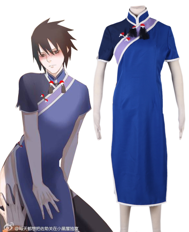 Free Shipping font b Naruto b font in China Uchiha Sasuke Sumer Cheongsam Dress Anime font
