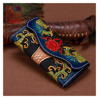 Handmade leather carving phoenix flowers women wallets genuine leather wallet Tri fold personality large capacity mens wallet