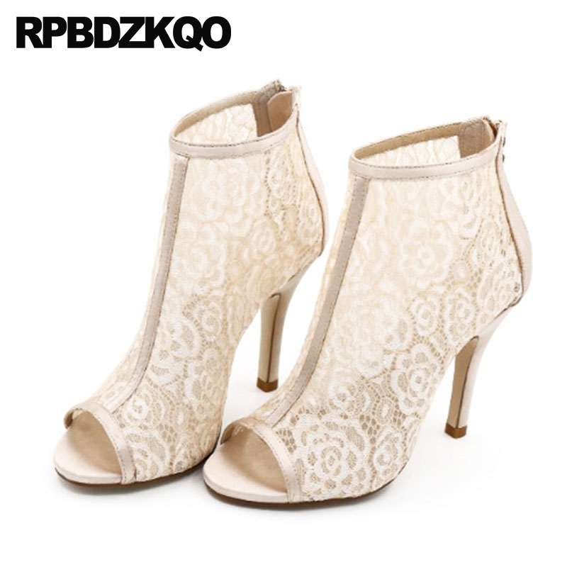 White Wedding Boots Ankle Mesh Summer Booties Bridal Sandals Peep Toe Stiletto Lace High Heel Extreme Women Brand Shoes Big Size