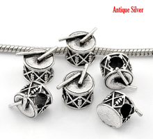 Drum Music Instrument Antique Silver Beads 10Pcs