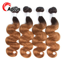 Aplus Hair Pre-Colored Brazilian Body Wave Hair Bundles 4 Pieces/Lot T1b/30 2 Tones color Human Hair Weaves Non Remy 10-24 inch(China)