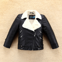 New Girls Fleece Leather Jacket with White Fur Collar for Autumn Winter Kids Boys Coat Bomber Outwear Children's Clothing