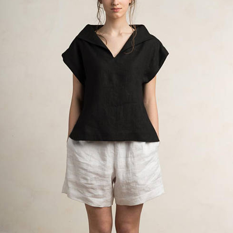 Celmia Women Vintage Linen Tops Plus Size Blouses 19 Summer V Neck Short Sleeve Shirts Casual Tunic Female Blusas Femininas 13