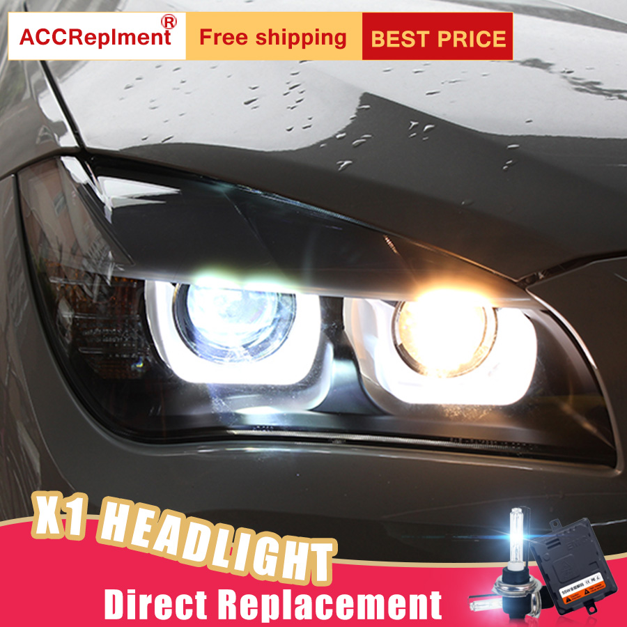 2Pcs LED Headlights For BMW X1 2008 2014 led car lights Angel eyes xenon HID KIT